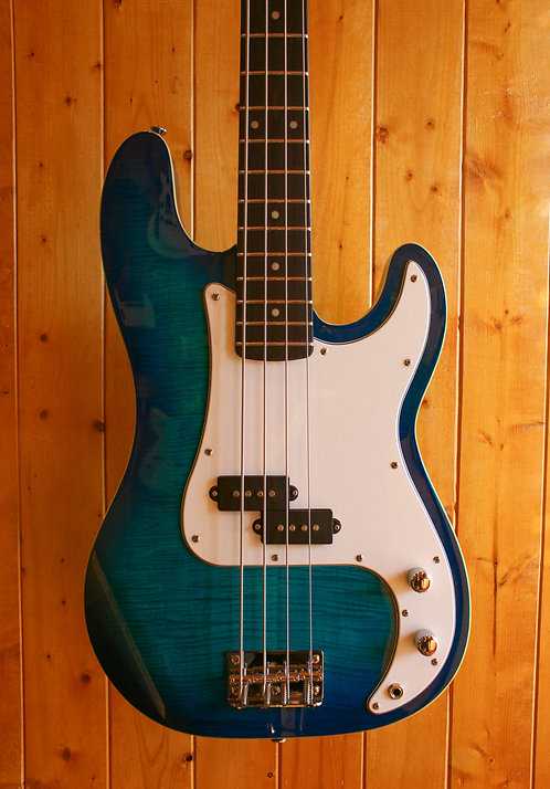 AIO PB4 4 String Bass - Blue Burst w/SKB Hard Case