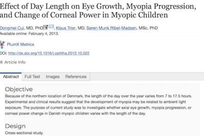 Влияние продолжительности дня на рост миопии у детей