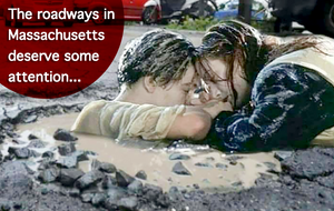 "Image of a Scene from The Titanic juxtaposed in a pothole to poke fun at poor infrastructure. Caption reads, ""The roadways in Massachusetts deserve some attention..."""