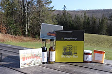 Sample box with Essex Olive and Spice Olive Oil and balsamic, Soap Cherie Soap, Brins jam, postcards