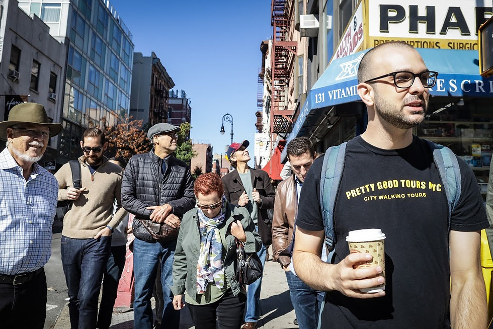 New York City tour guide giving walking tour on New York City's Lower East Side
