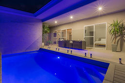 Villa with private pool at night