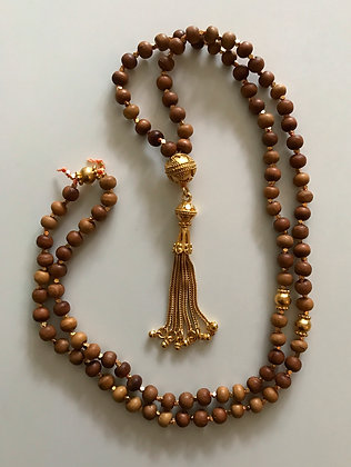 Sandalwood Mala with goldvermeil tassle