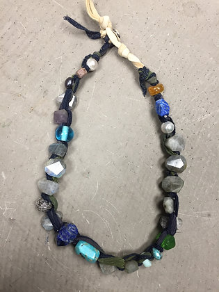 Labradorite on silk ribbon