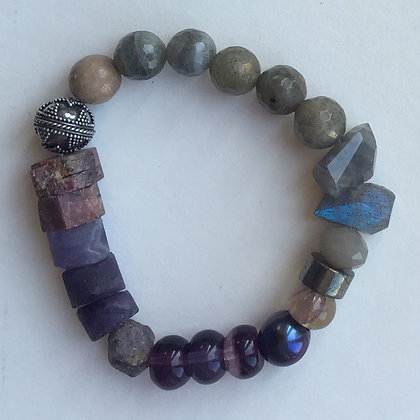 Lab, fluorite, ruby and silver