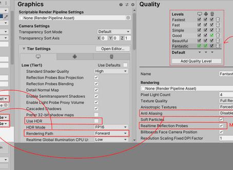 ¿Por qué los reflejos funcionan en el editor, pero no en el compilado?.