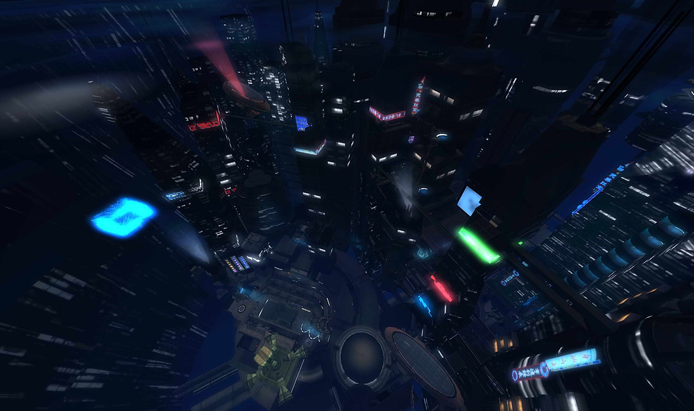 Representación 3D de una ciudad saturada