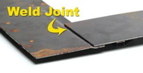 Weld two panels together after making a step joint