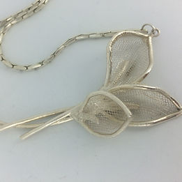 Silver necklace made with silver clay
