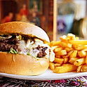 Caramelized onions beef burger