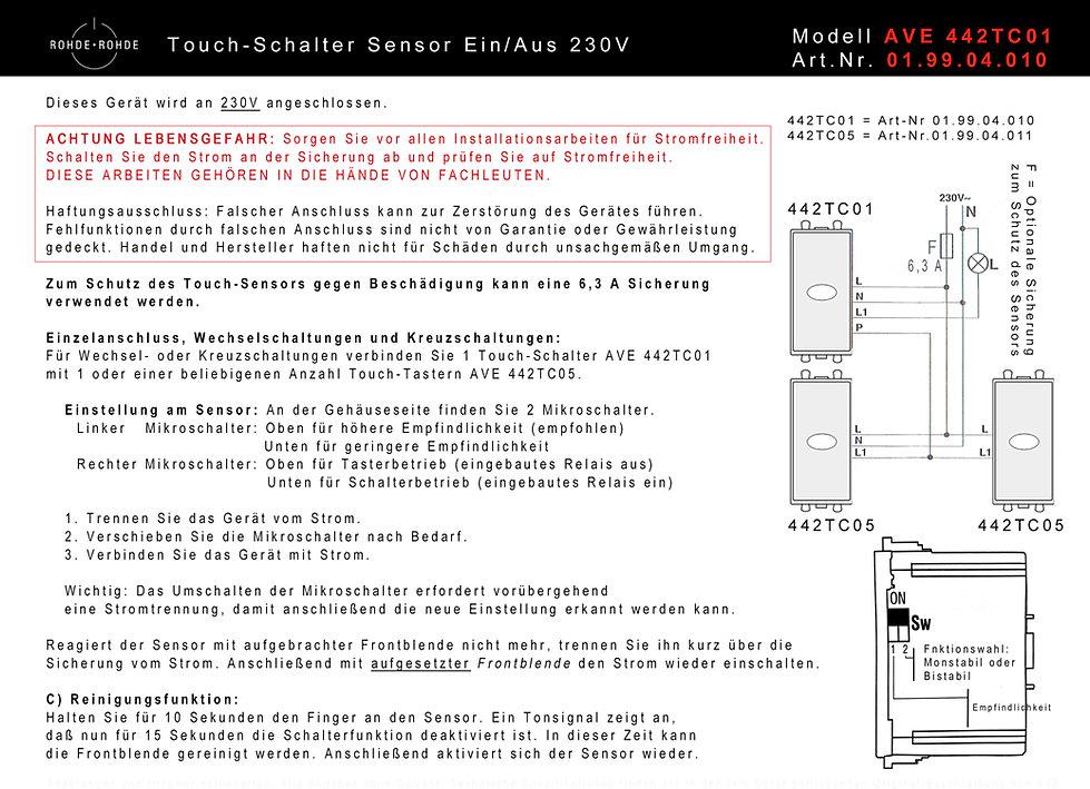 touch lichtschalter 230v rohde rohde qualit t aus deutschland montage installation. Black Bedroom Furniture Sets. Home Design Ideas