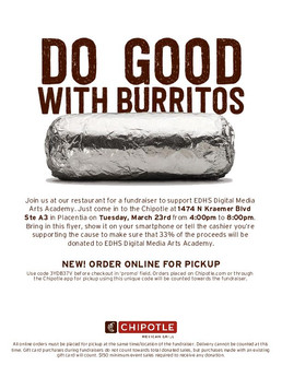 DMAA CHIPOTLE FUNDRAISER- 3/23 SAVE THE DATE