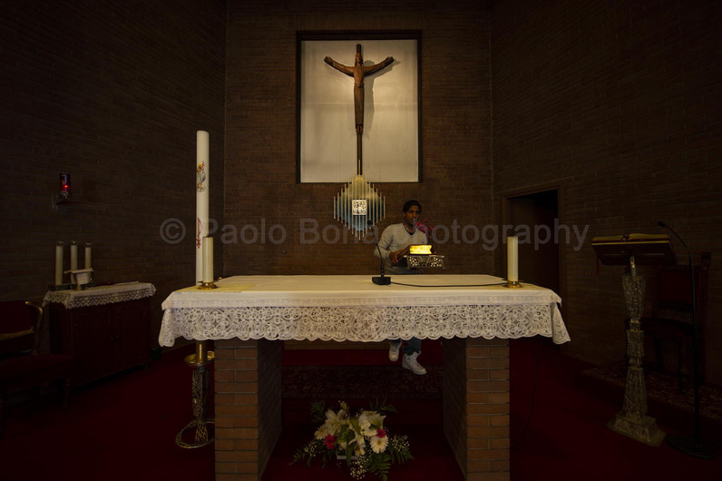 Setting the altar for mass