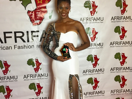 Nini Amerlise wins her first International Award at AFRIFAMU los Angeles 2020