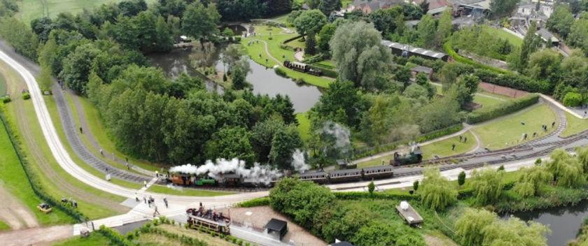 Statfold Barn Railway birds eye view with steam engine on track
