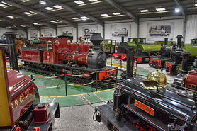 Roundtable with steam trains at Statfold Barn Railway