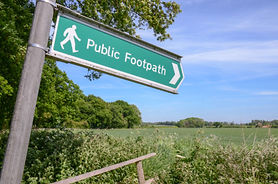 Public footpath sign at Statfold