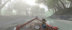View of boat in jungle from virtual reality ride
