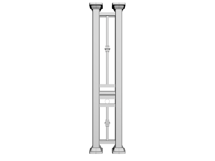 Aluminum Column | Double Post with Collar and Circle