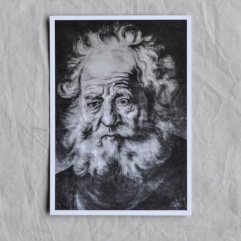 Kunstkaart met oude man uit Rijksmuseum