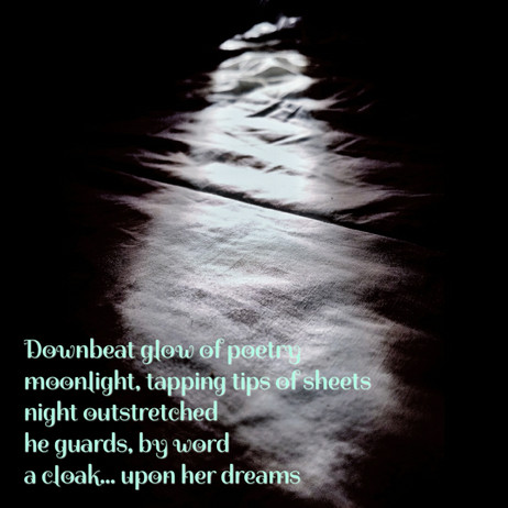 Moonlight, tapping tips of sheets