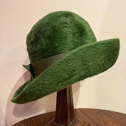Vintage Green Felt/Cloche Hat