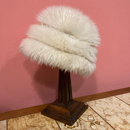 1960's White Faux Fur Hat