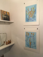 Monoprints hanging at St David's Coffee House