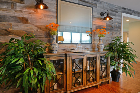 Rustic Wood Wall with Sconces