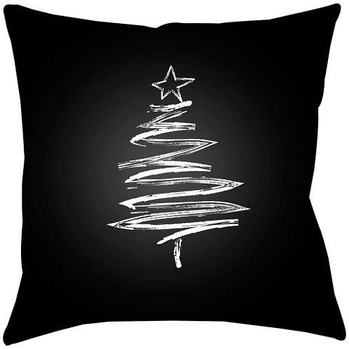Black and White Line Art Tree Throw Pillow