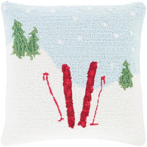 Holiday Ski Day Throw Pillow