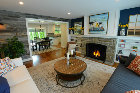 Navy and White Living Room with Fireplace