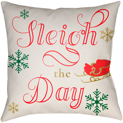 Sleigh the Day Holiday Throw Pillow