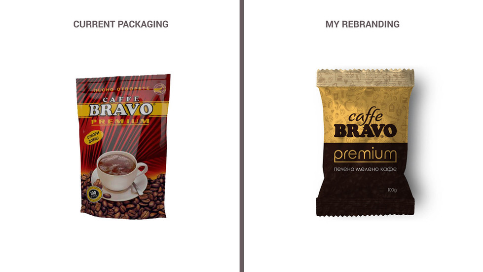 Package Design - Redesign of Caffe Bravo