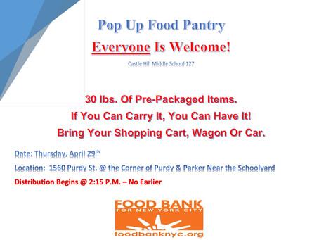 FOOD PANTRY THURSDAY 4/28