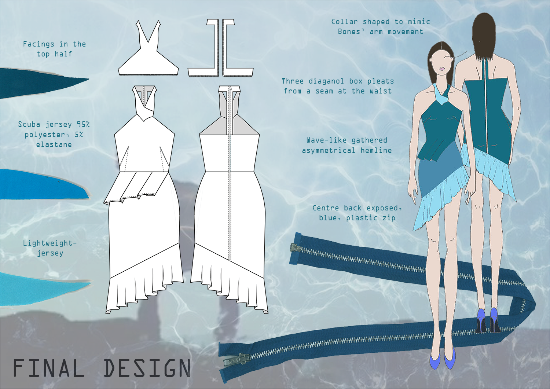 Amy Brotherton Making Waves Final Dress Design Flat