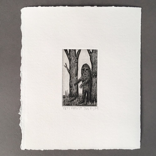 Forest Yeti Etching