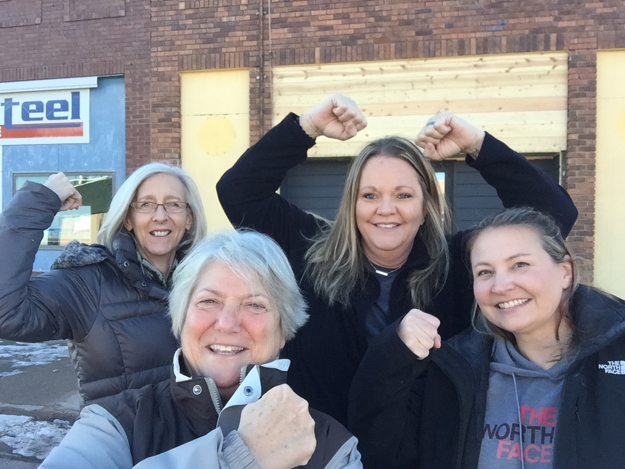"""Ready to """"get fit"""" are Kathy Hausmann, Listen and Learn Club member; Sonya Jensen, Post 36 Fitness board member; Kathy Divine, Listen and Learn Club Member; and Amy Bailey, Post 36 Fitness board member."""