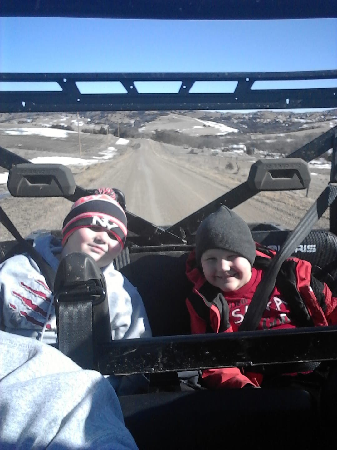 Ayden and Anton Jensen out for a ride with the top off. Sons of AJ and Sherry Jensen.