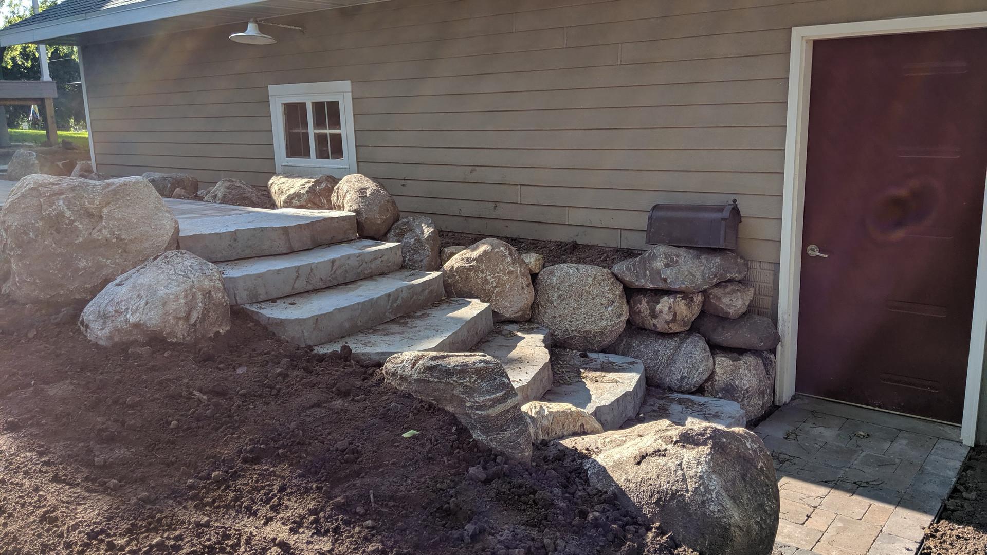 Sidewalk, Steps, Retaining Walls, Lawn