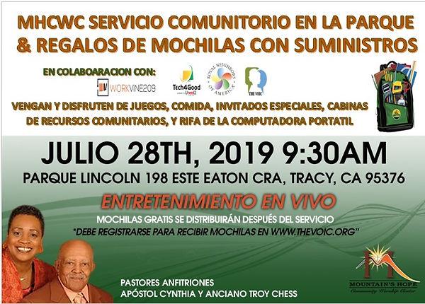 2019 community service in park - SPANISH