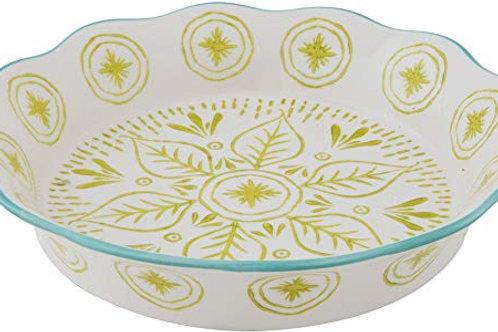 Stoneware Pie Plate Green Aqua