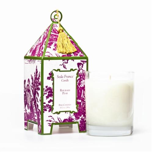 Rhubarb Pear Classic Toile Pagoda Box Candle