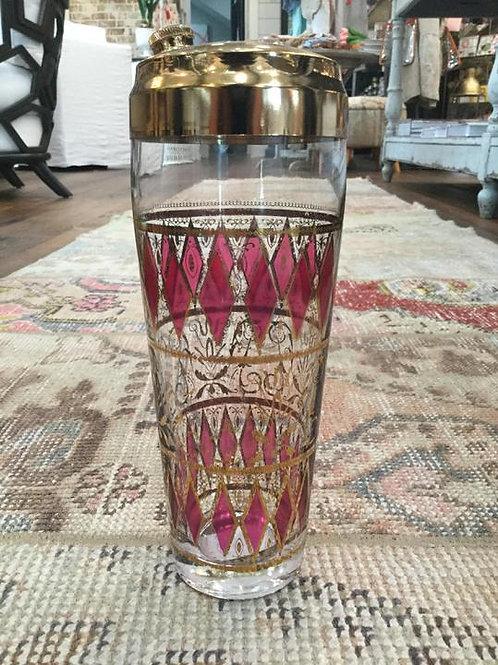 Vintage Pink/Gold Diamond Pattern Cocktail Shaker