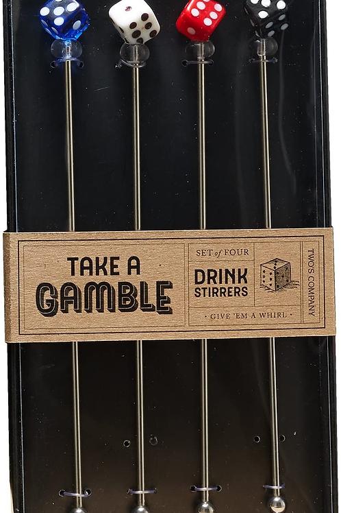TAKE A GAMBLE DRINK STIRRERS SET OF 4