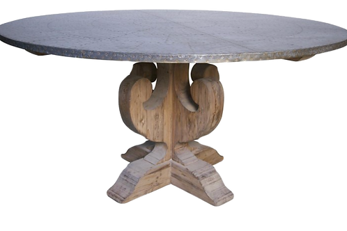 Hammered Zinc Top Table