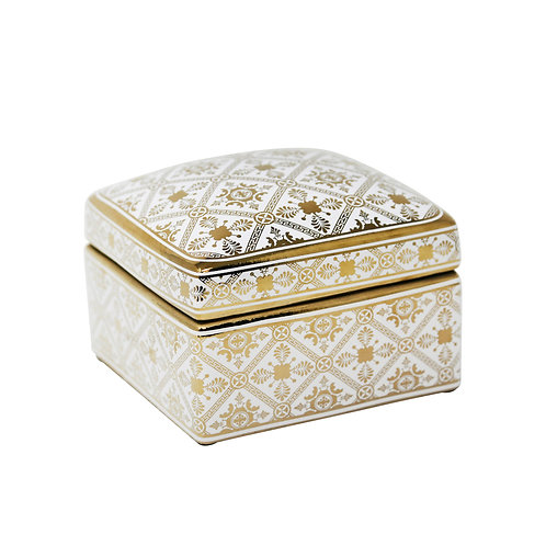 Square Gold/White Jar 5""
