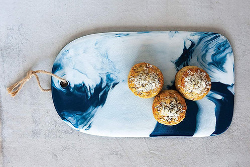 Ceramic Cheese Board Blue Marble Glaze