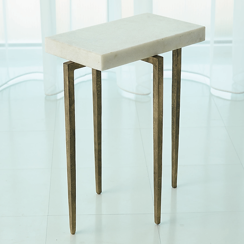 LAFORGE ACCENT TABLE ANTIQUE GOLD/WHITE