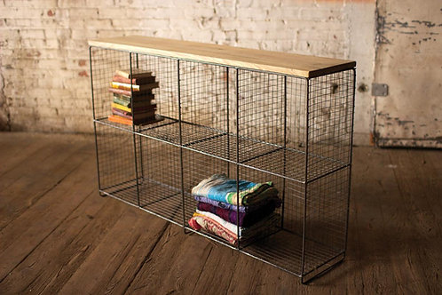 EIGHT CUBBY CONSOLE W/WOOD TOP